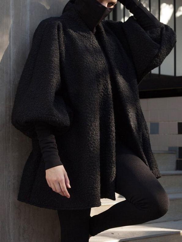 Erre Textured Swing Coat Black Cropped