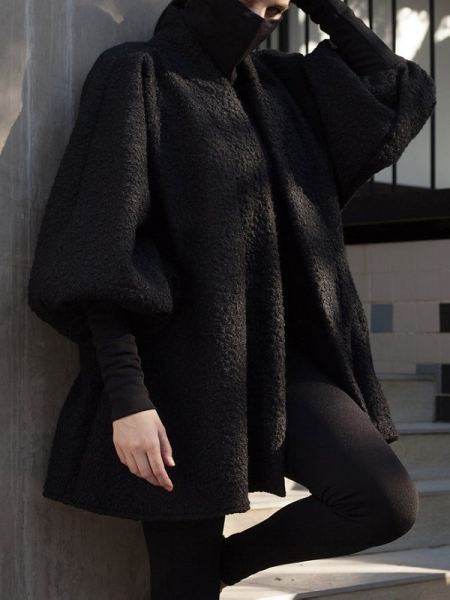 Erre Textured Swing Coat Black Cropped