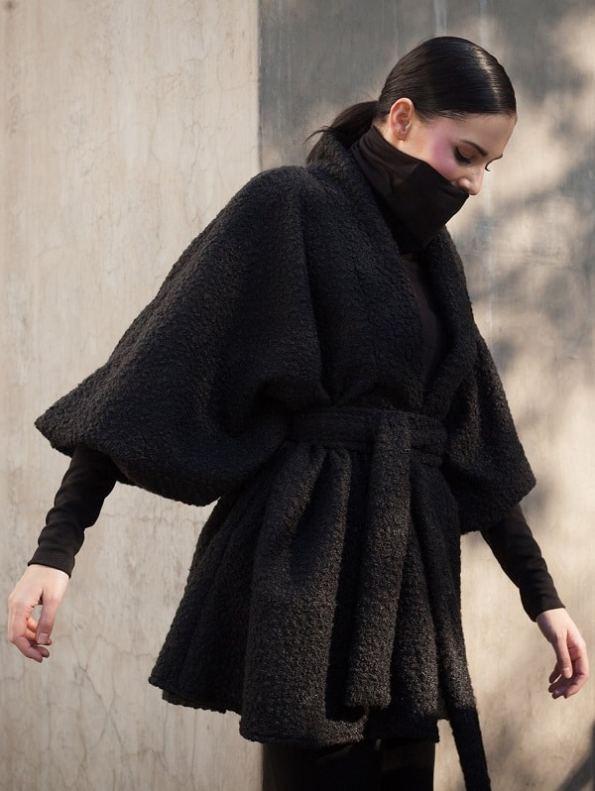 Erre Textured Swing Coat Black Side 2