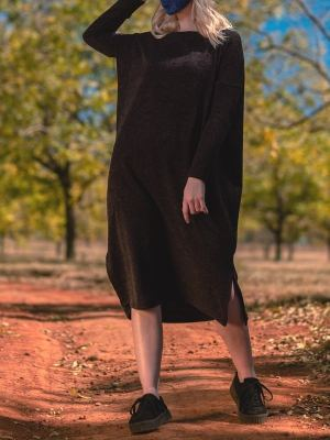 black loose dress knitted dress plus size dress South Africa