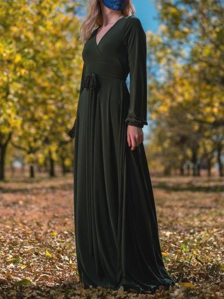 Long dress green maxi dress wrap dress made in South Africa