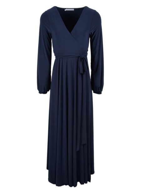 Plus Size Long navy maxi wrap dress made in South Africa