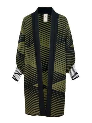 Long Cardigan South Africa in olive green and black stripes