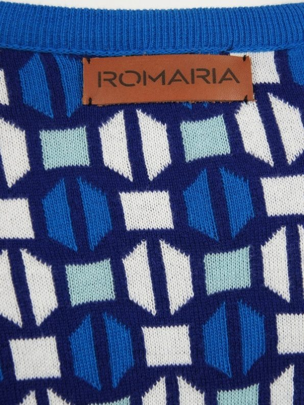 Romaria Short Knitted Kimono Blue Closeup