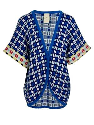 Blue Cotton kimono knitted in South Africa