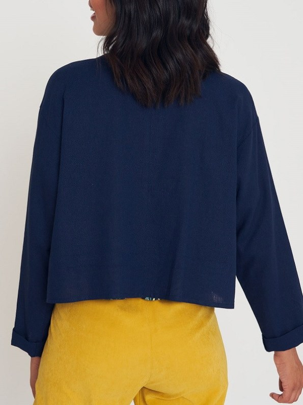Good Wearwithanything Jacket Navy Linen Blend Back Crop
