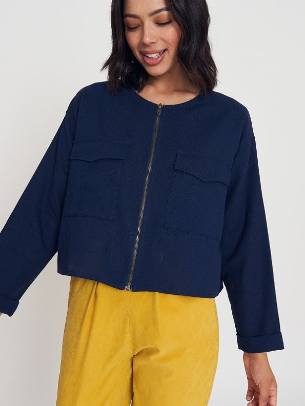 Good Wearwithanything Jacket Navy Linen Blend Cropped 2