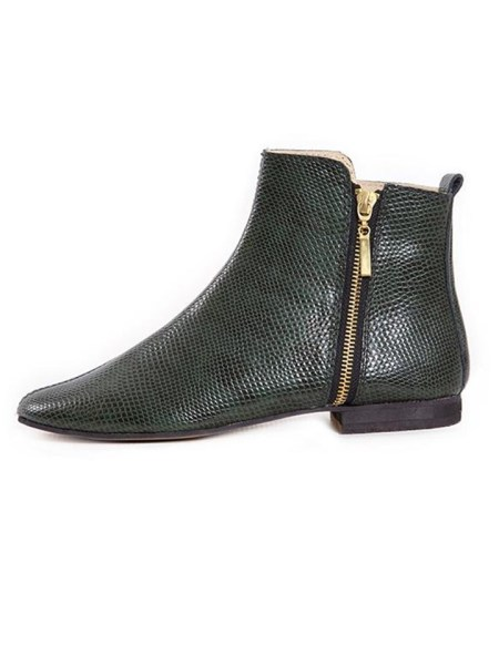 Ladies ankle boots green snake print from South Africa