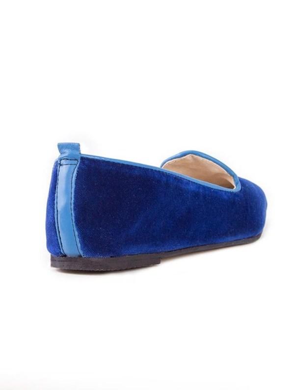 House of Cinnamon Sinead Velvet Loafers Royal Blue Back