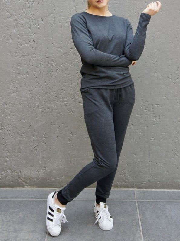 JMVB Athleisure Long Sleeve Top and Sweatpants Charcoal Lean