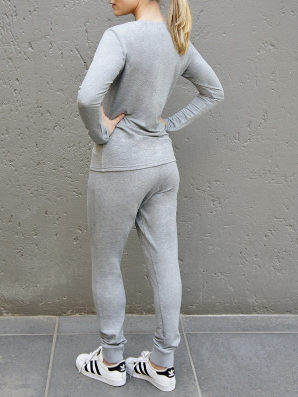 JMVB Athleisure Long Sleeve Top and Sweatpants Grey Back