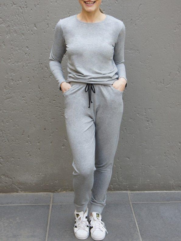 JMVB Athleisure Long Sleeve Top and Sweatpants Grey