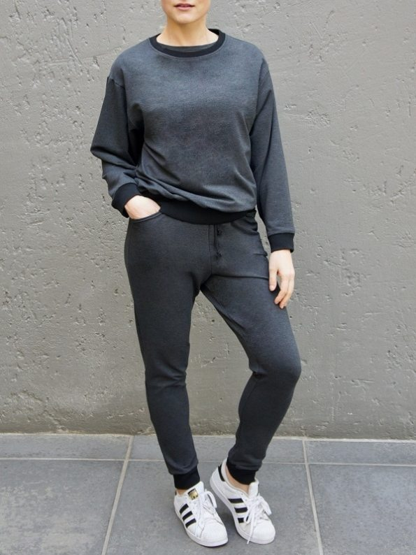 JMVB Athleisure Sweater and Sweatpants Charcoal Front