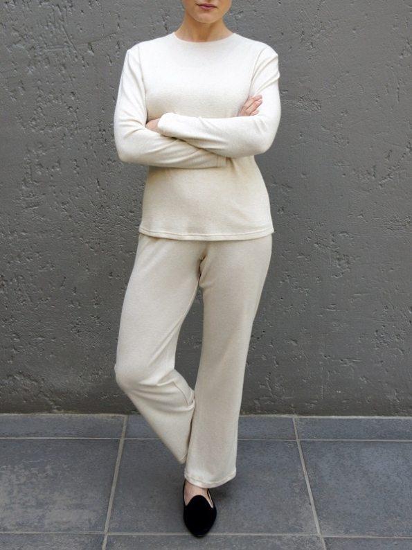 JMVB Loungewear Long Sleeve Top and Pants Beige Arms Crossed
