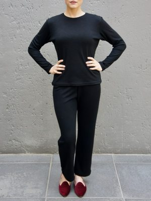 Black lounge pants set with long sleeve tops South Africa
