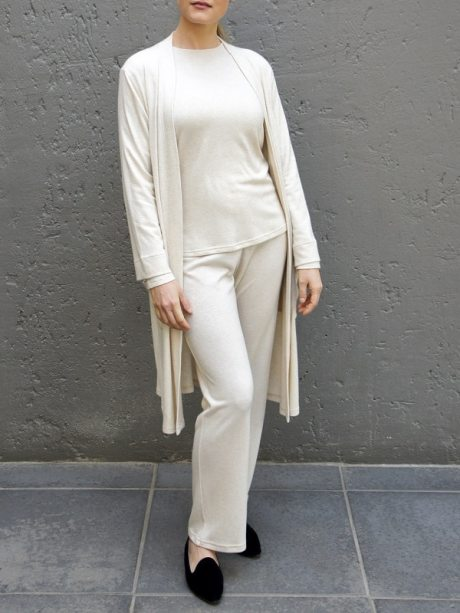 Loungewear long sleeve top beige and cardigan knitted made in South Africa