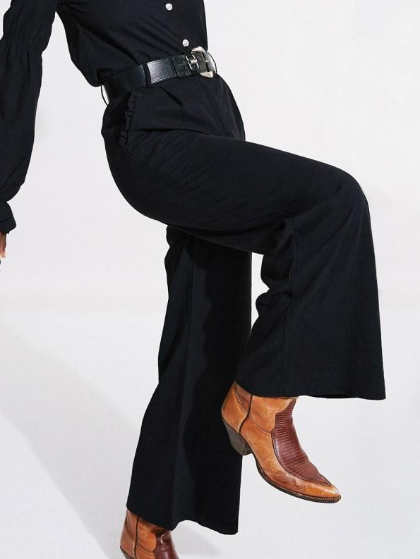 Asha Eleven Black High & Wide Pants Crop