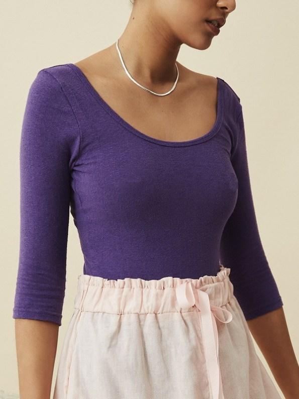 Asha Eleven Bodysuit Petunia Purple with Salama Hemp Shorts Rose