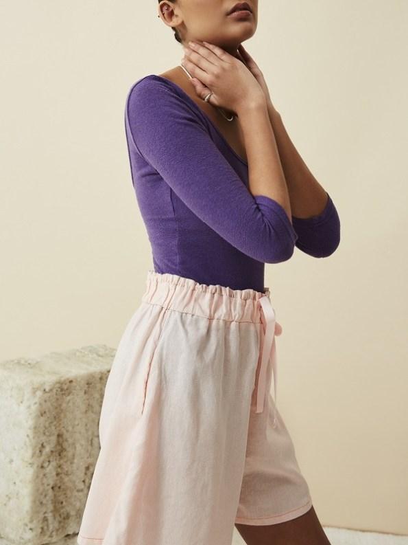 Asha Eleven Bodysuit Purple with Salama Hemp Shorts Rose