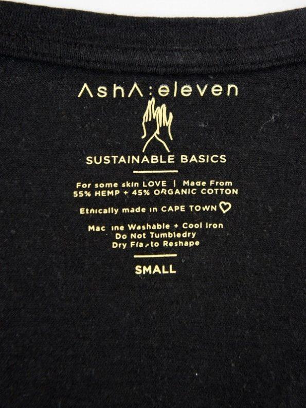 Asha Eleven Hemp Organic Cotton T-shirt Black Detail