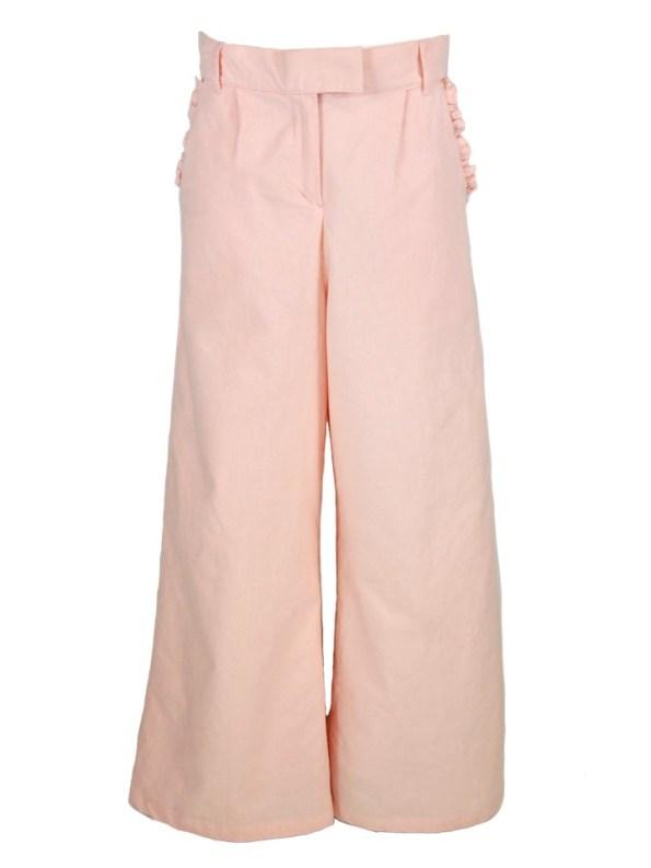 Asha Eleven High Waisted Wide Leg Linen Pants Rose