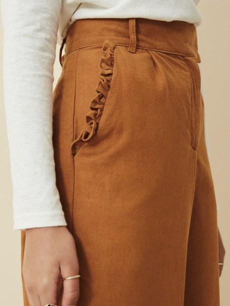 High Waisted Wide Leg Pants Brown Pocket Detail