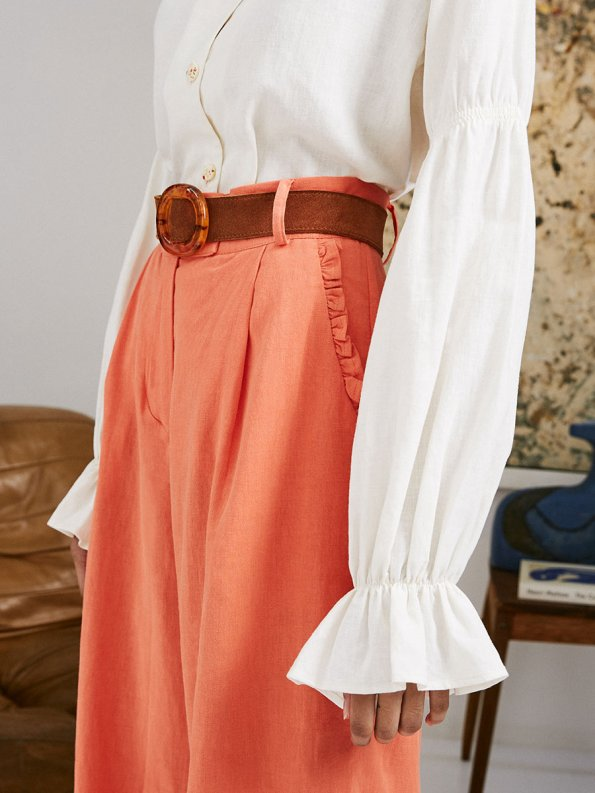 Asha Eleven High and Wide Pants Coral and Outlander Blouse 3