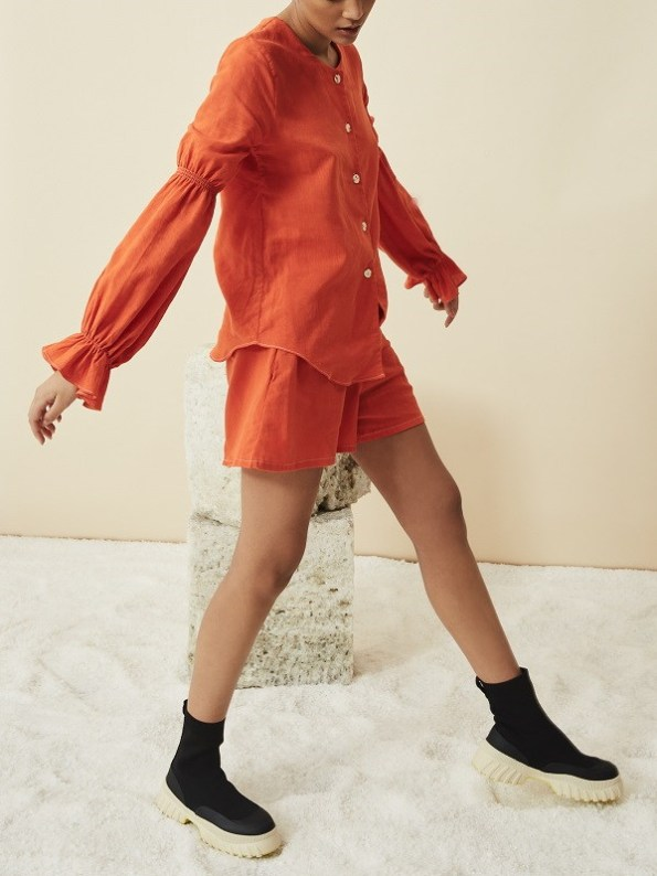Asha Eleven Outlander Blouse Orange With Salama Shorts Side