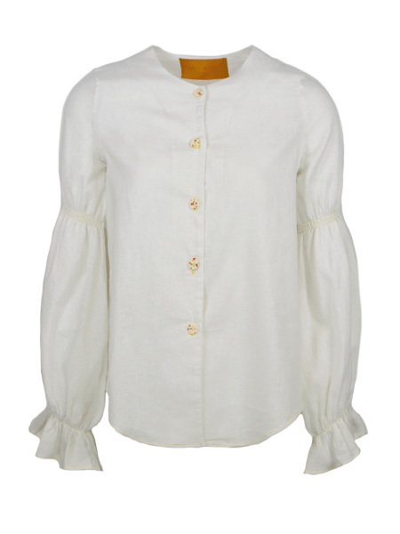 white hemp blouse with peasant sleeves