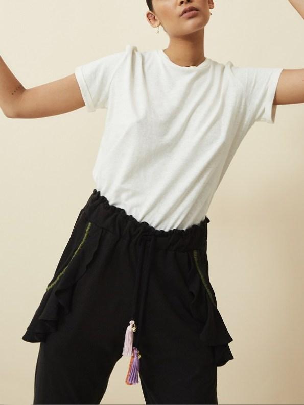 Asha Eleven Pumzika Hemp Jogger Pants Black with White Organic Hemp Tshirt