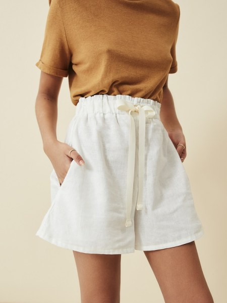 white hemp ladies shorts with brown hemp T-shirt South Africa