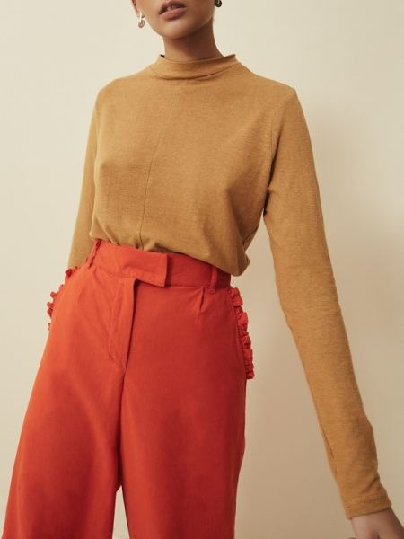 Brown Hemp Top with Orange High Waisted Pants Wide Leg Pants