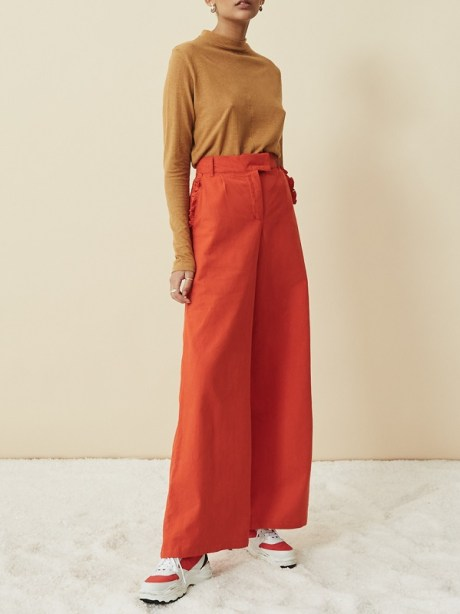 Brown Hemp Top with Orange High Waisted Pants Wide Leg Hemp Pants South Africa
