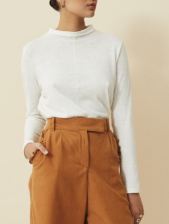 Asha Eleven Turtle Neck Hemp Top White