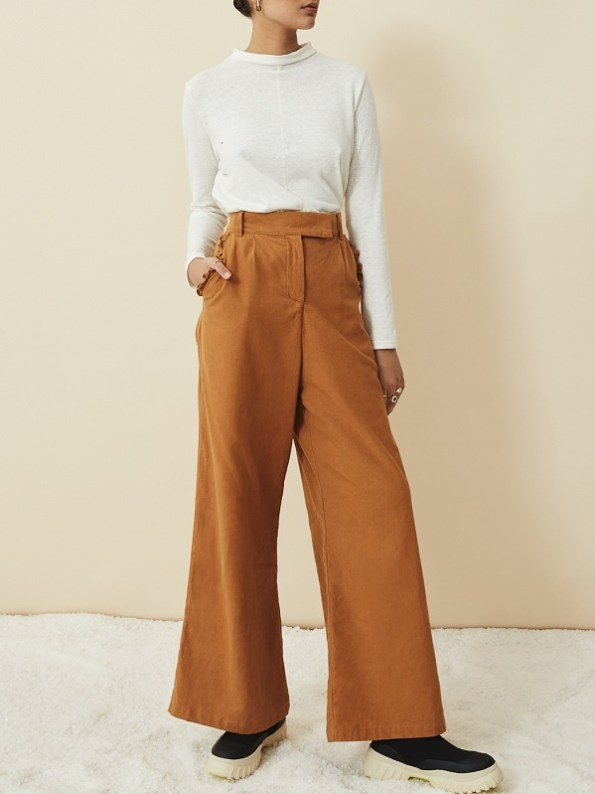 Asha Eleven Turtle Neck Top Off White with High Waisted Wide Leg Pants Chesa