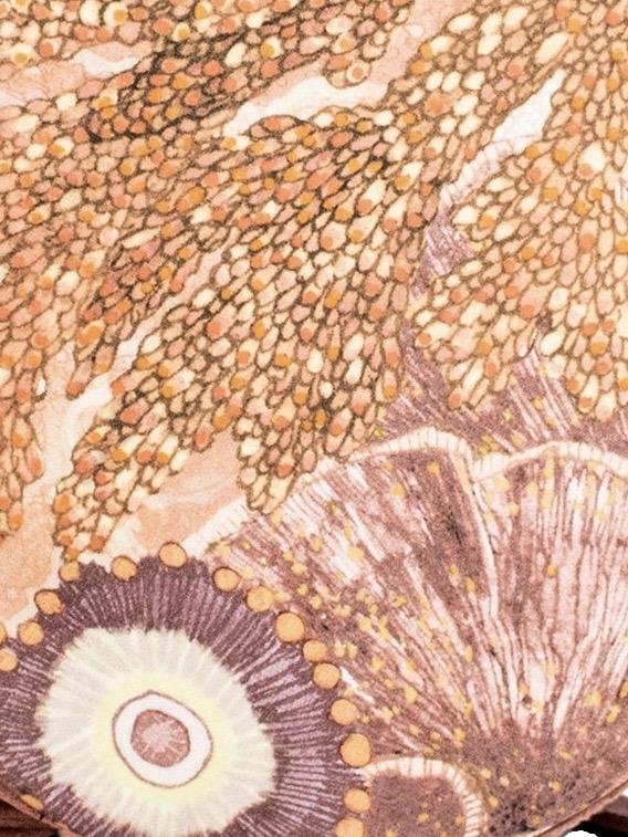 Aureum Oceanum Coral Fabric no Embroidery