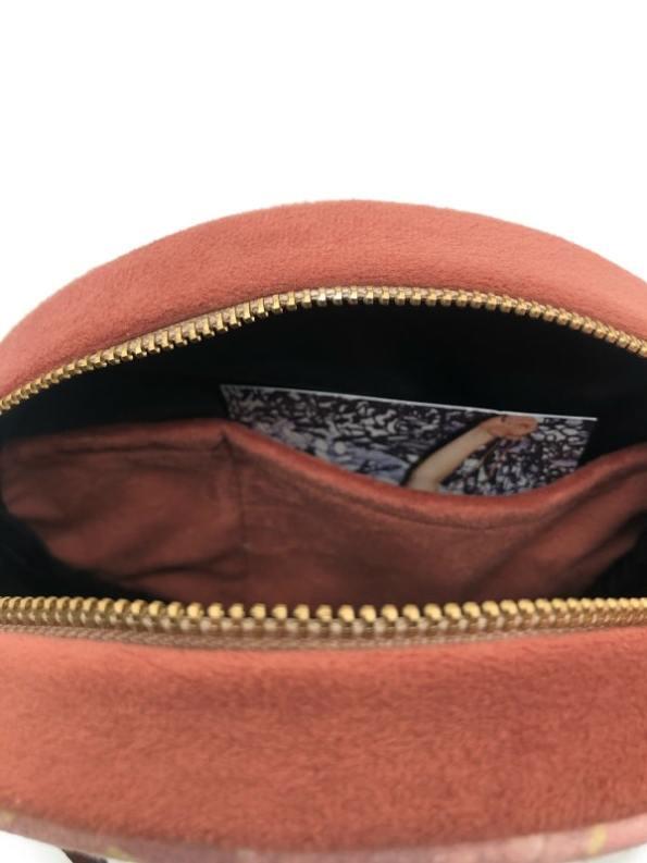 Aureum Oceanum Embroidered Round Bag Coral Inside Pockets