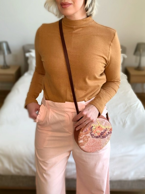 Aureum Oceanum Embroidered Round Bag Coral on Model