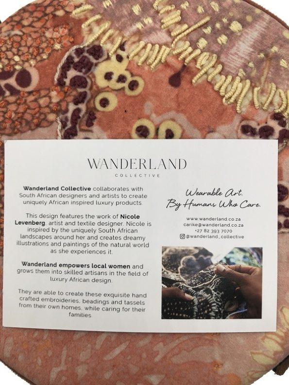 Aureum Oceanum Embroidered Round Bag Coral with Card