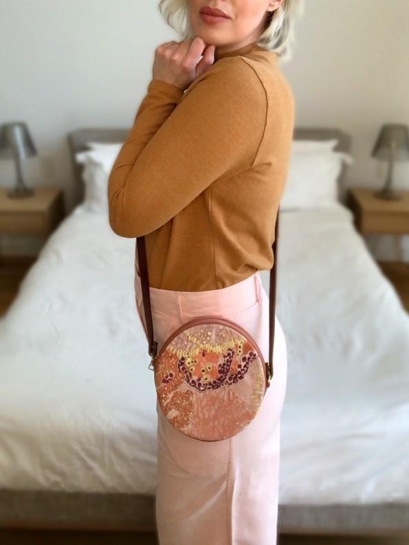 Aureum Oceanum Embroidered Round Velvet Bag Coral Crossbody