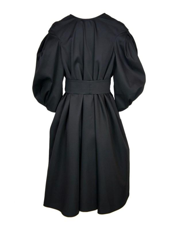 Erre Angle Mid Length Summer Coat Black Back