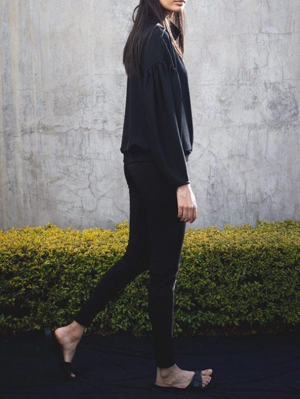 Erre Flex Sweater Black with High Waisted Skinny Leg Pants Black