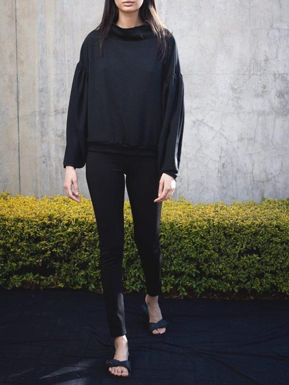 Erre Flex Sweater Black with High Waisted Slim Leg Pants