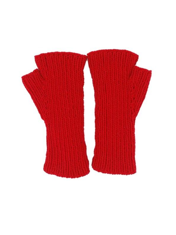 Erre Knitted Fingerless Gloves Red Back