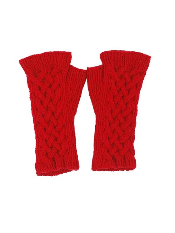 Erre Knitted Fingerless Gloves Red