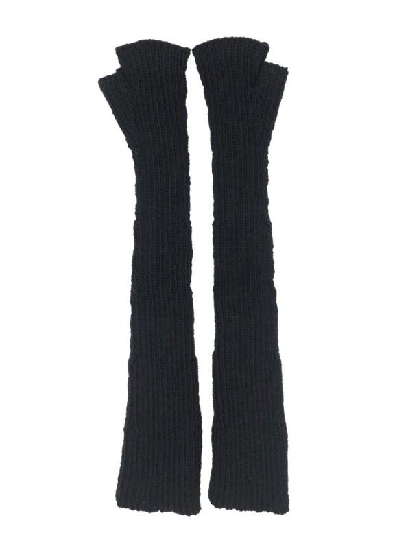 Erre Knitted Long Fingerless Gloves Black Back
