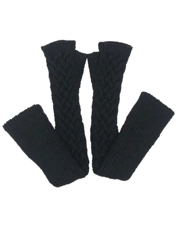 Erre Knitted Long Fingerless Gloves Black Folded
