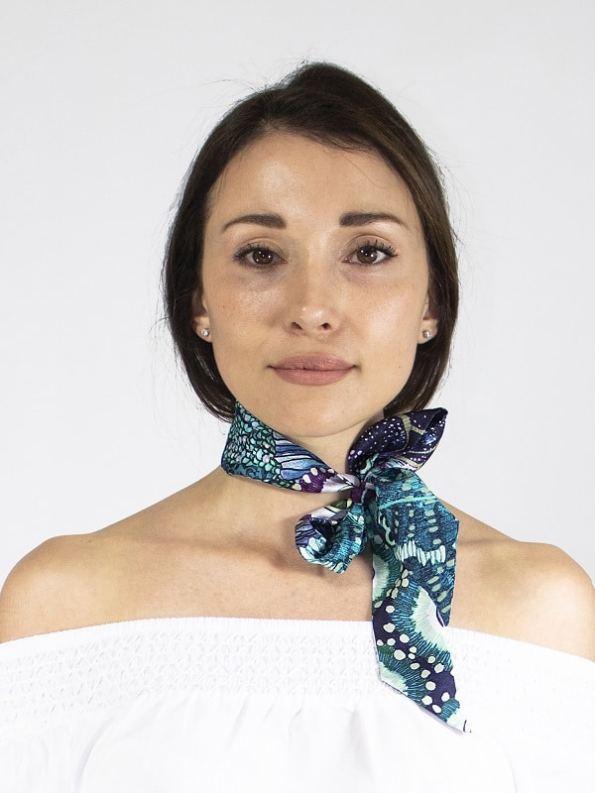 How to wear a silk Twilly Scarf Bow Oceanum Azure Aureum