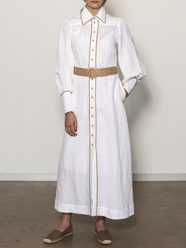 Smudj Aaron Maxi Dress White Linen Pocket