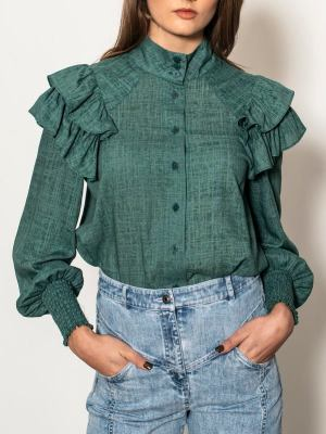 Green linen blouse South Africa